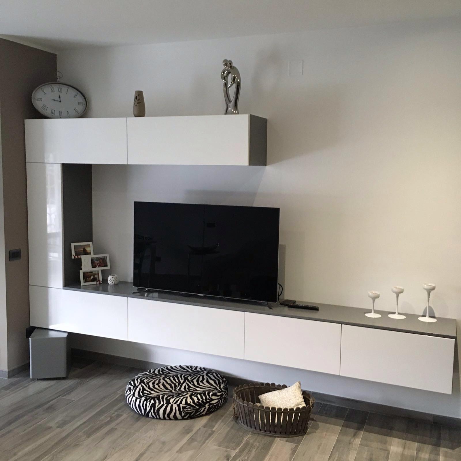 Cucina e living minimal moderno bianco e antracite basile for Living moderni
