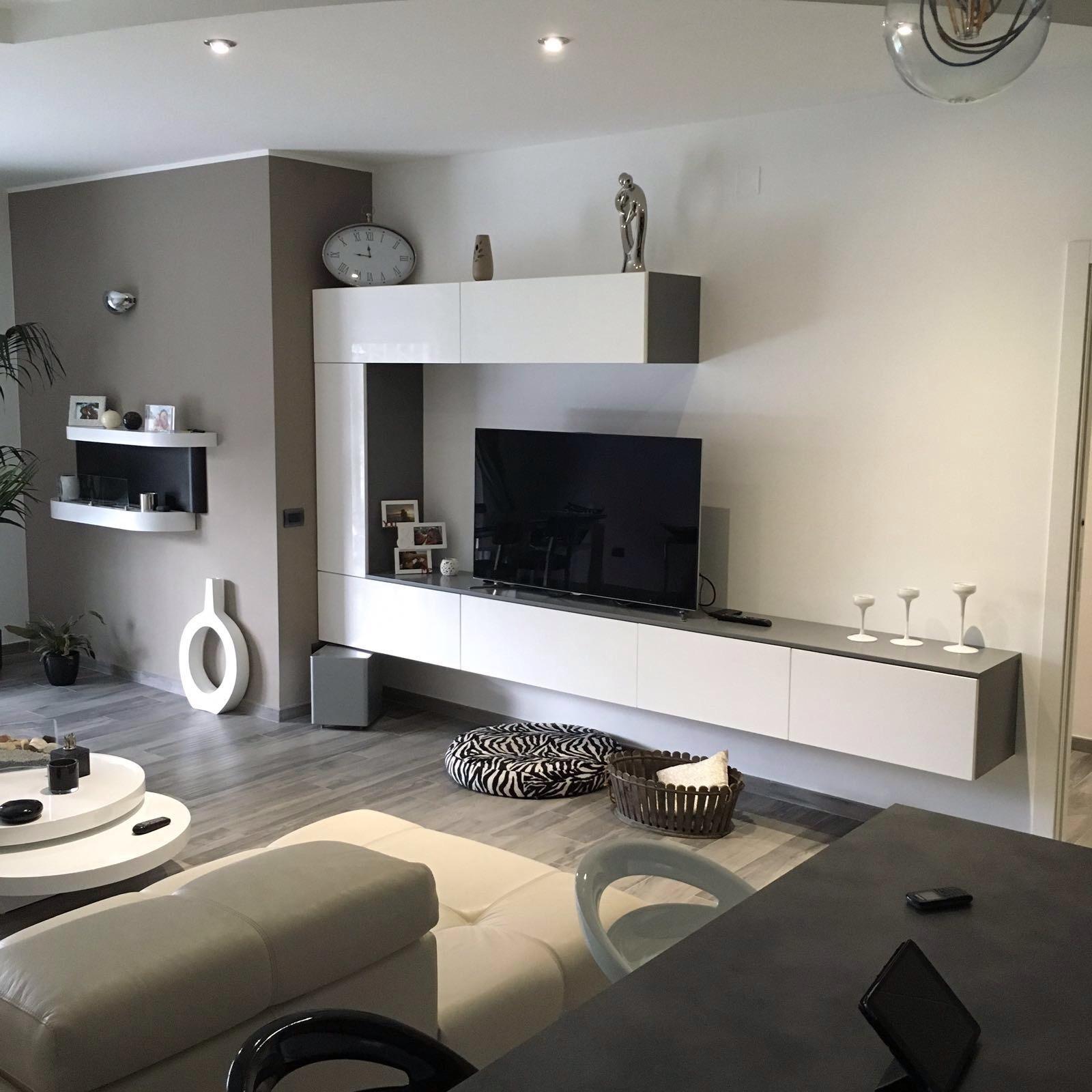 Cucina e living minimal moderno bianco e antracite basile for Livings modernos 2016